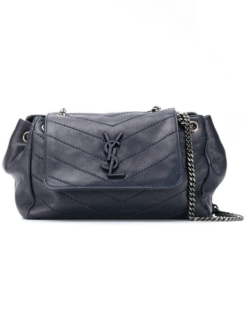Lyst - Saint Laurent Nolita Large Shoulder Bag in Blue 5217062e03c0a