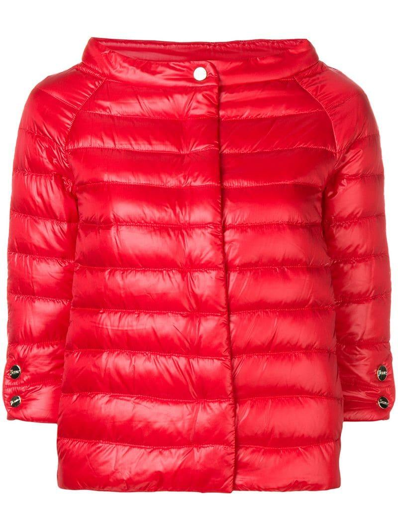 a733e3cf1fd Herno Short Puffer Jacket in Red - Lyst