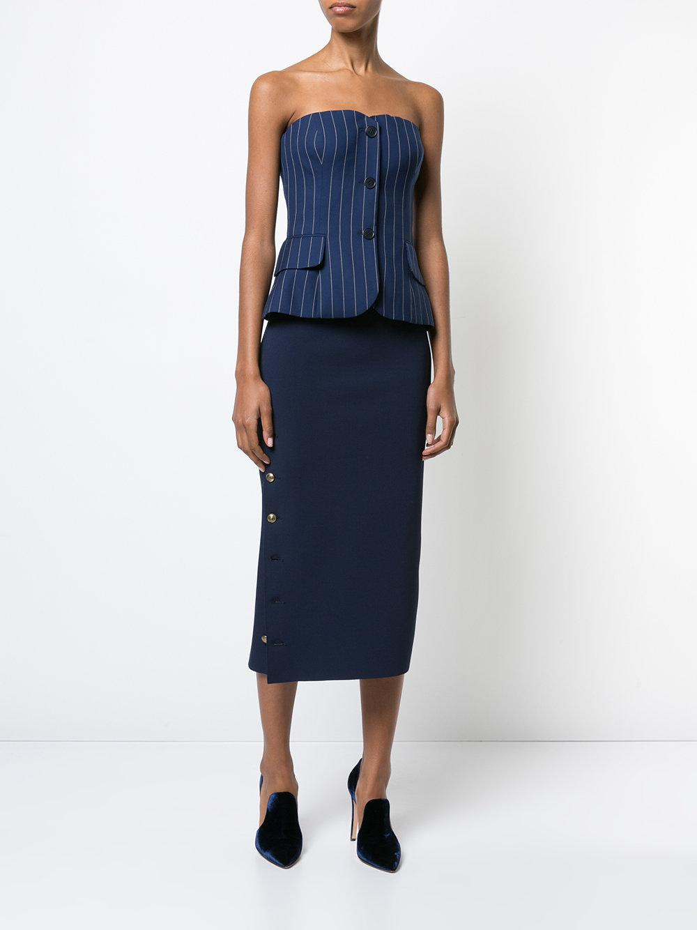90159e0e204 Lyst - Ralph Lauren Collection Pinstripe Corset Top in Blue - Save 24%