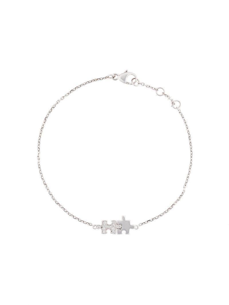 Akillis Mini Puzzle White Gold With Diamonds Duo Bracelet m31s8e