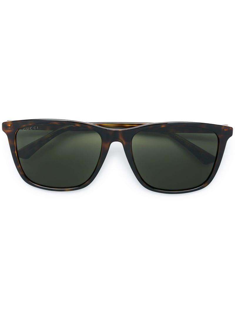 41bd6ef23f6c Gucci - Brown Square Tinted Sunglasses - Lyst. View fullscreen