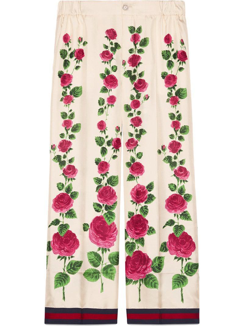 0c35d18f Gucci Rose Garden Print Silk Pajama Pants in Pink - Lyst