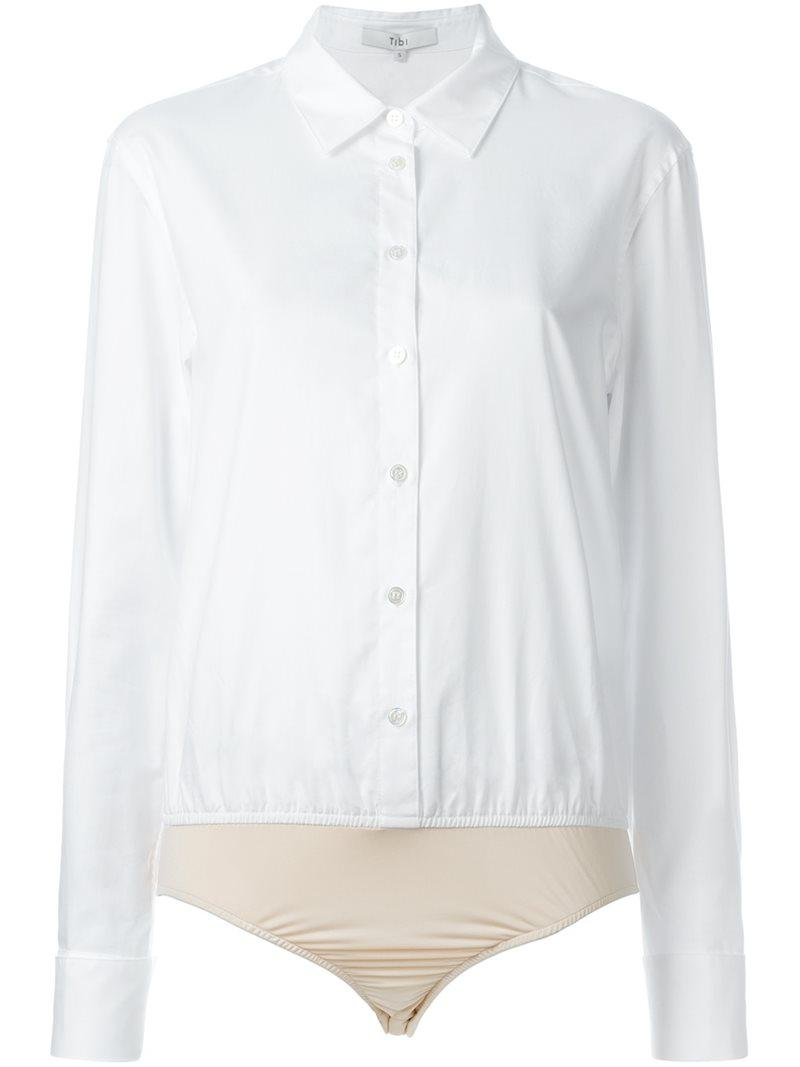 Lyst Tibi Shirt Bodysuit In White