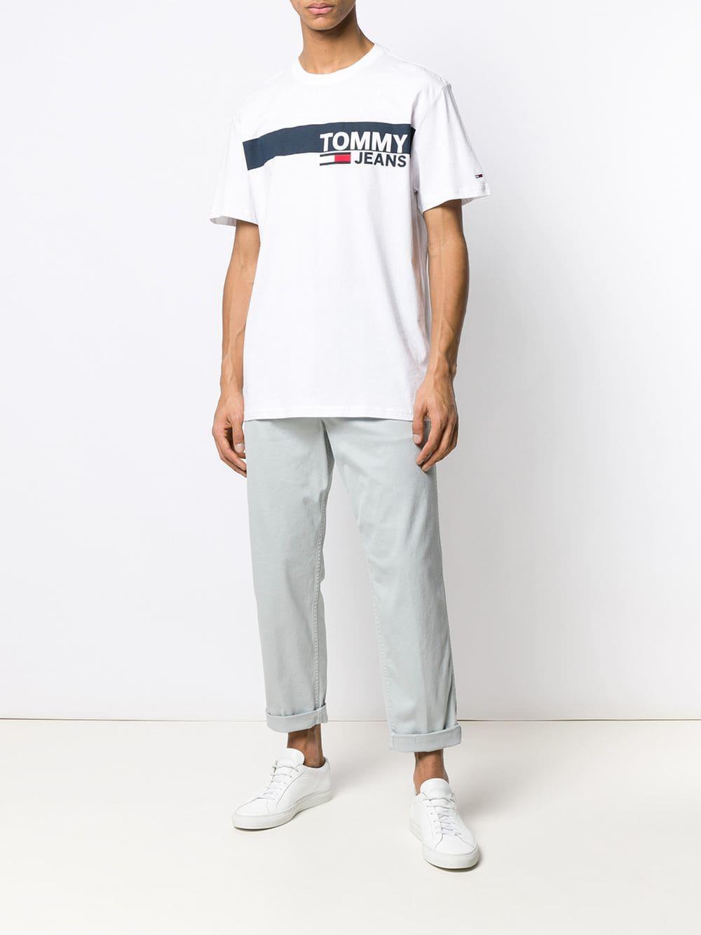 49f0373be60a97 Tommy Hilfiger - White Logo Print T-shirt for Men - Lyst. View fullscreen