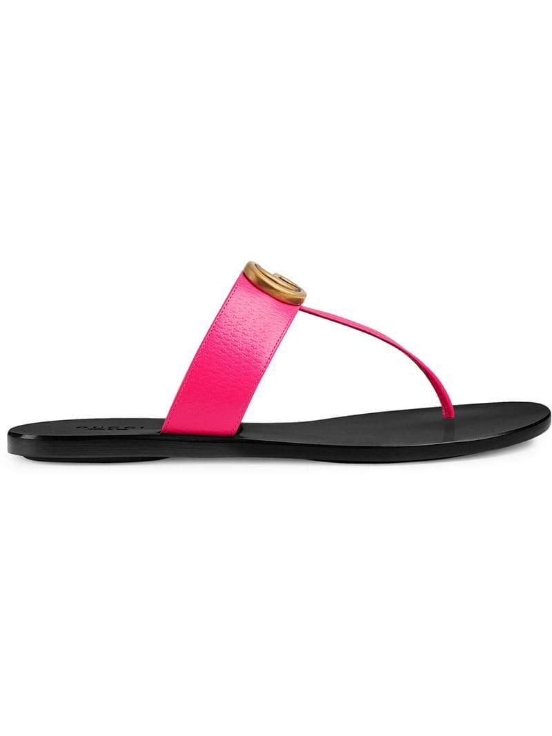 6e8e5c5ab40 Gucci Leather Thong Sandal With Double G in Pink - Save ...