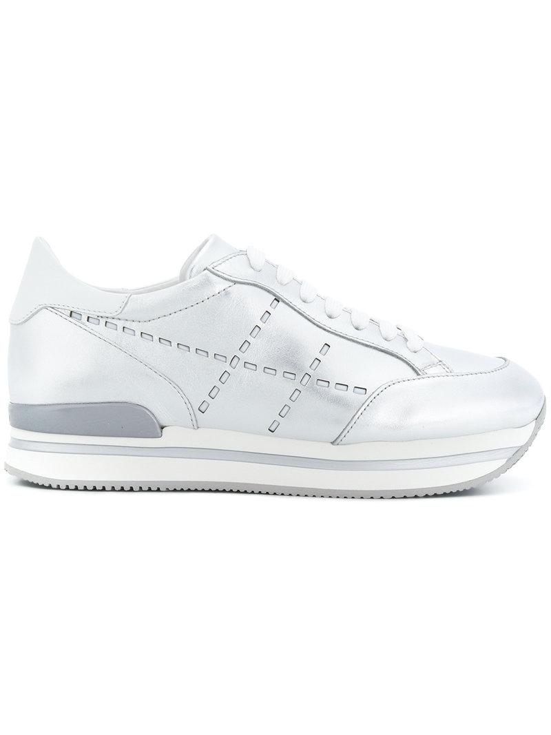 Hogan perforated details sneakers - Metallic farfetch bianco
