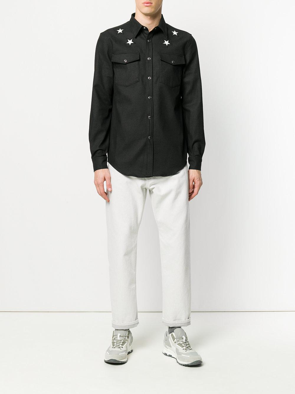 Lyst givenchy star patch shirt in black for men for Givenchy 5 star shirt
