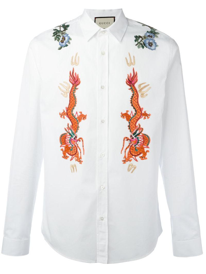 166efbbfc55 Gucci Duke Embroidered Shirt in White for Men - Lyst