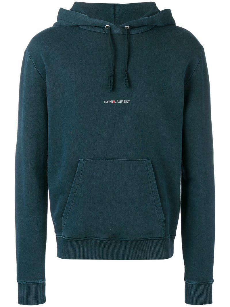 975ed656d Saint Laurent - Green Destroyed Logo Hoodie for Men - Lyst. View fullscreen