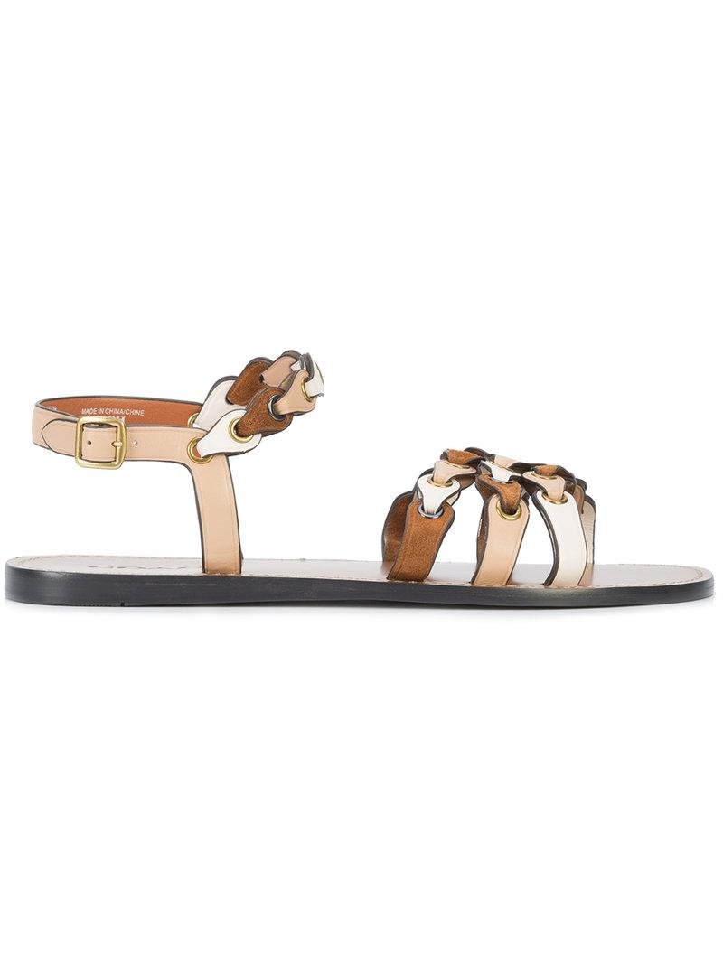 1ec58f578b6 Lyst - COACH Signature Link Sandals in Brown