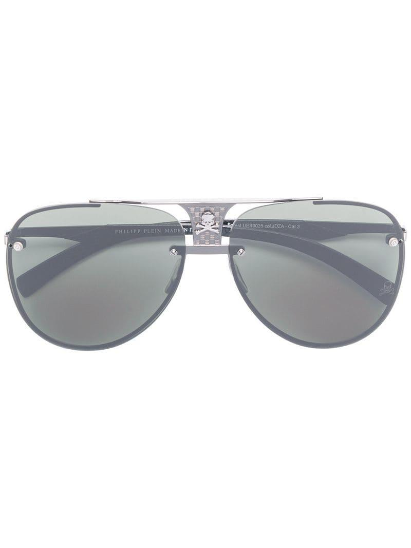 d837b5c76a Philipp Plein Skull Detail Aviator Sunglasses in Black - Lyst
