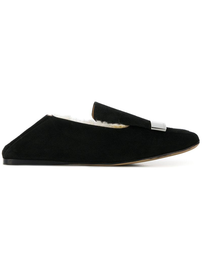 aa84de168c4 Lyst - Sergio Rossi Square Toe Slippers in Black
