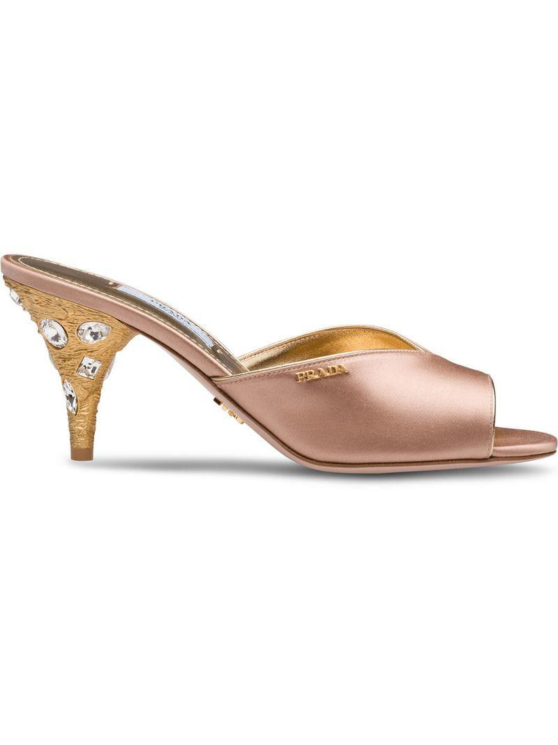 7a46abf29ed Prada Satin Mules With Metal Heel in Pink - Lyst