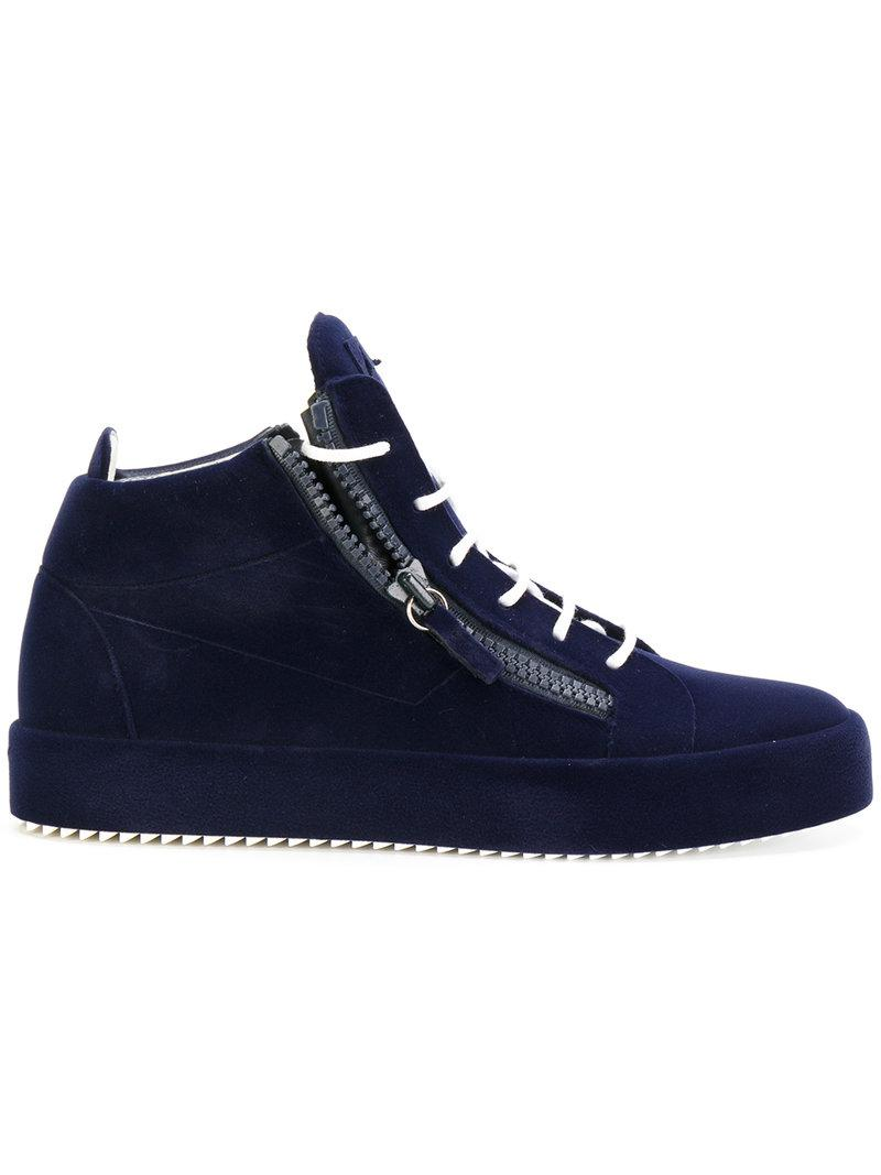 Giuseppe Zanotti Mens Blue The Unfinished Hitop Sneakers