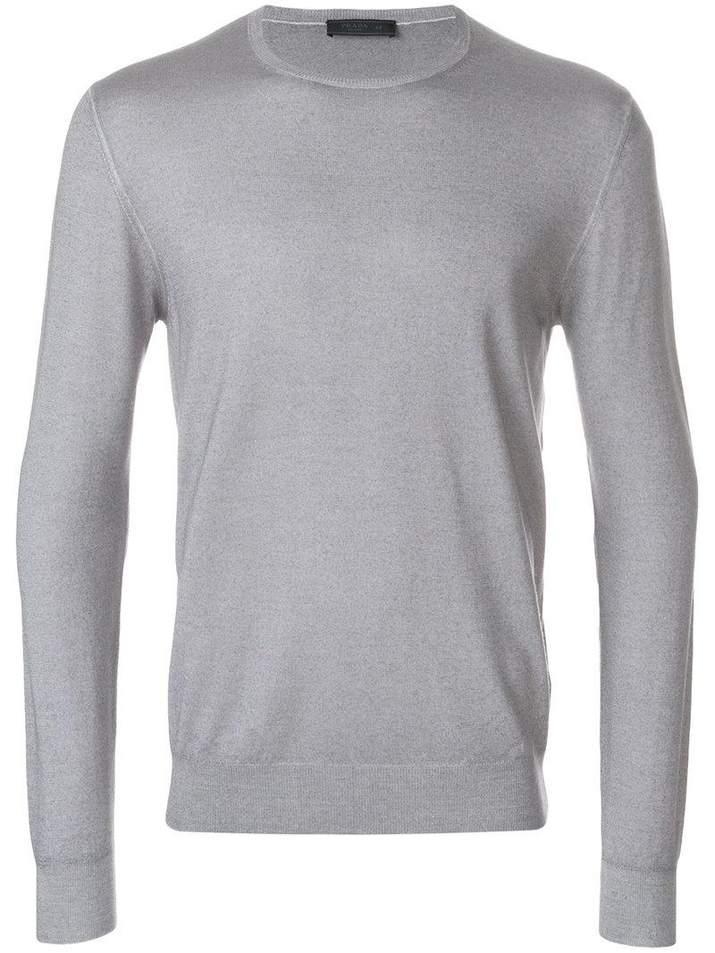 7c19a113be50 Lyst - Prada Long Sleeve Pullover in Gray for Men