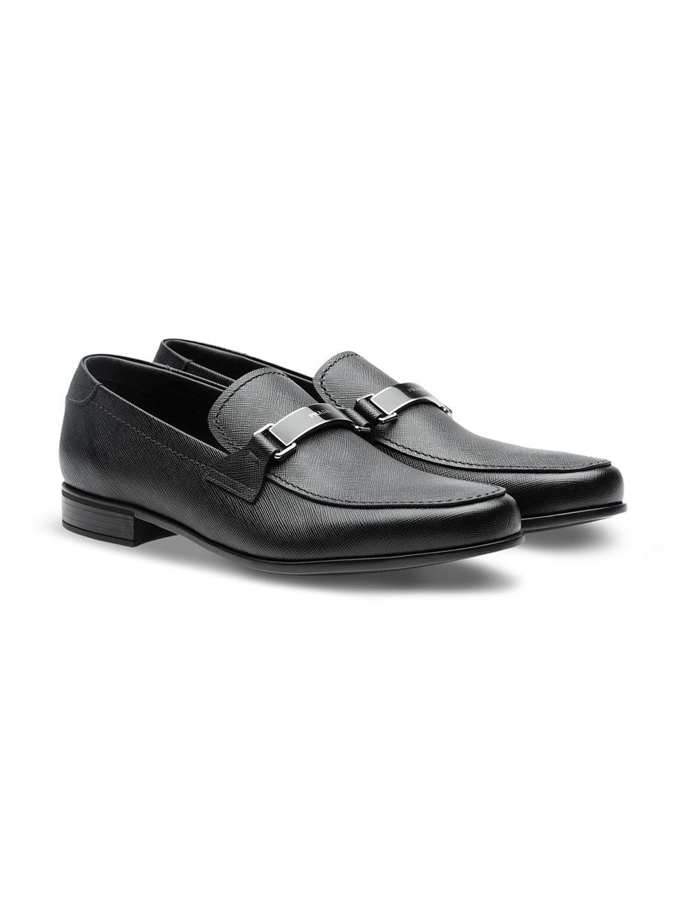 54ff5a0fcca Lyst - Prada Saffiano Leather Loafers in Black for Men