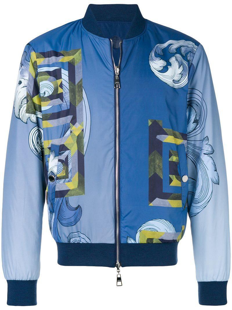 Lyst Versace Geometric Print Bomber Jacket In Blue For Men
