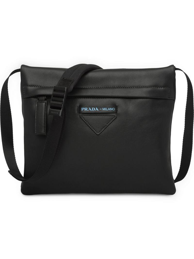 997a561a5049 ... france prada. mens black leather shoulder bag 885fd c353b