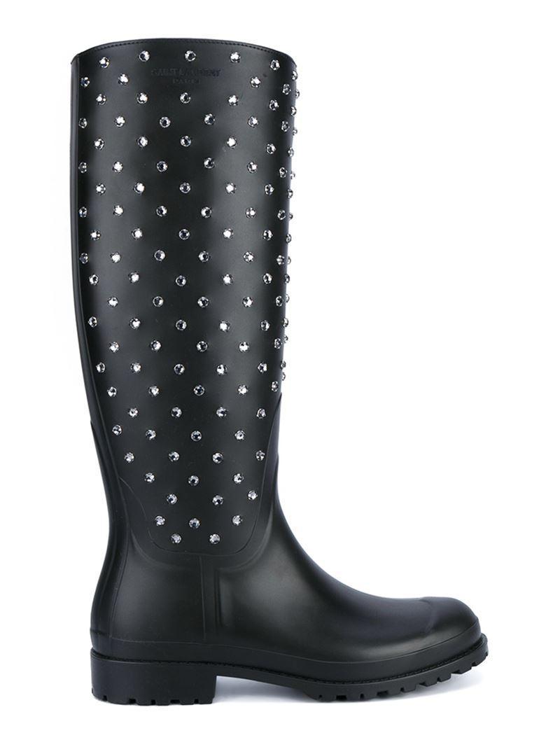 Saint Laurent. Women's Black Crystal Studded Rubber Festival Boots