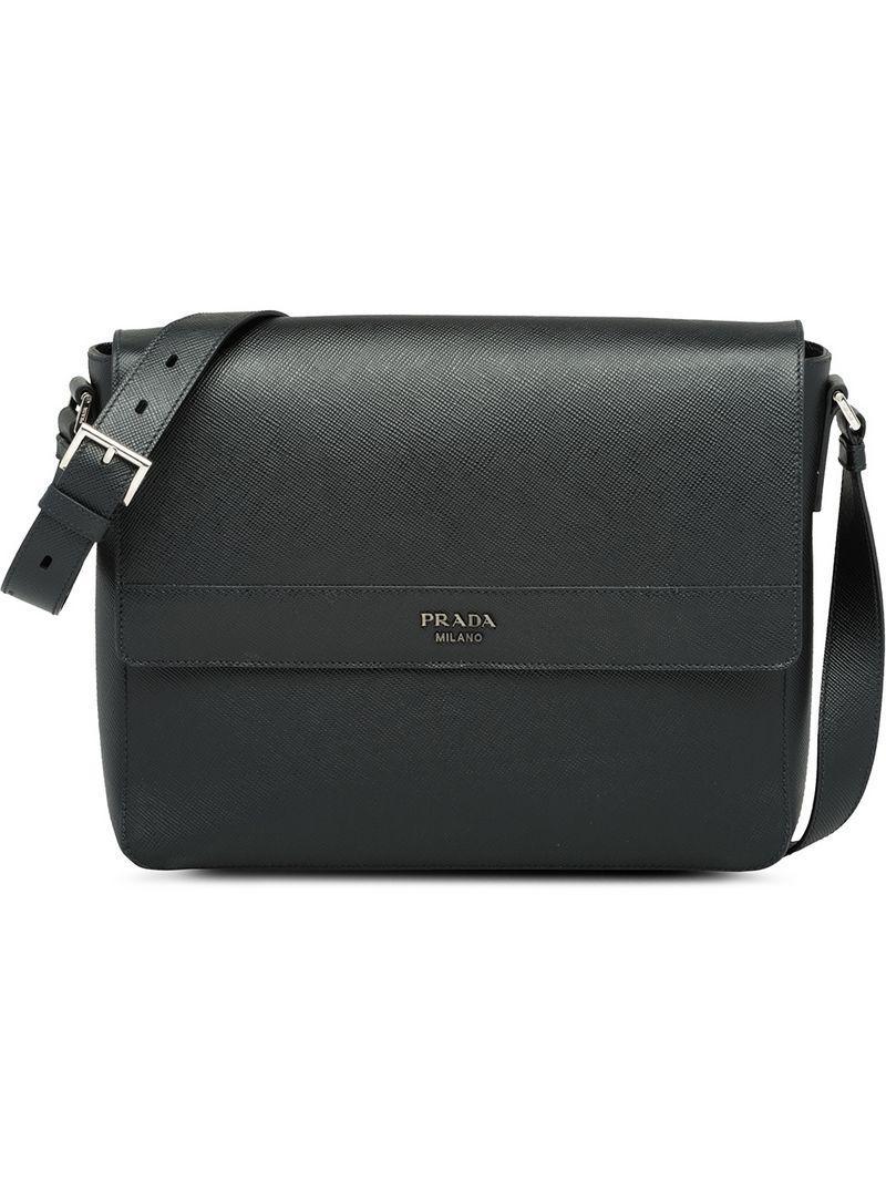 2eaf76383504 Prada Saffiano Leather Shoulder Bag in Black for Men - Lyst