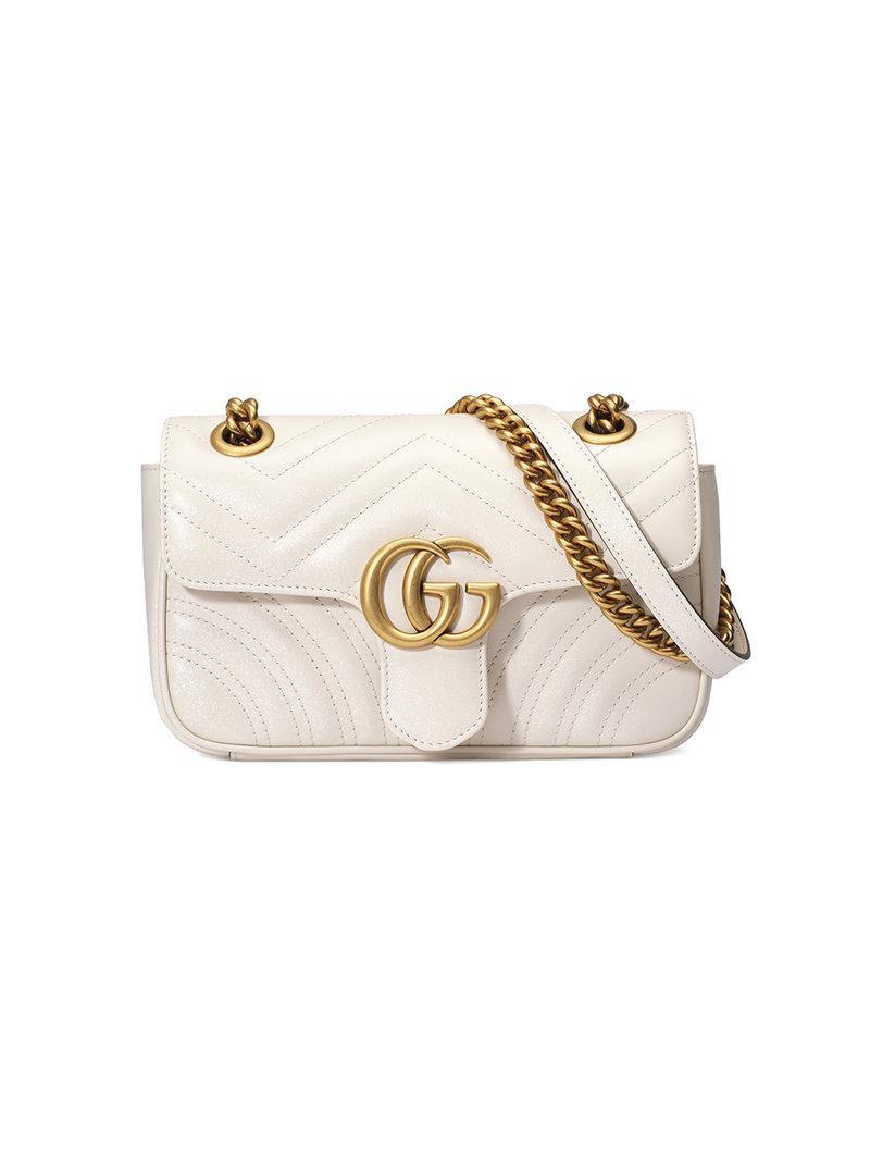 822d3444fc9 Lyst - Sac a chaine blanc Mini GG Marmont Gucci en coloris Blanc ...