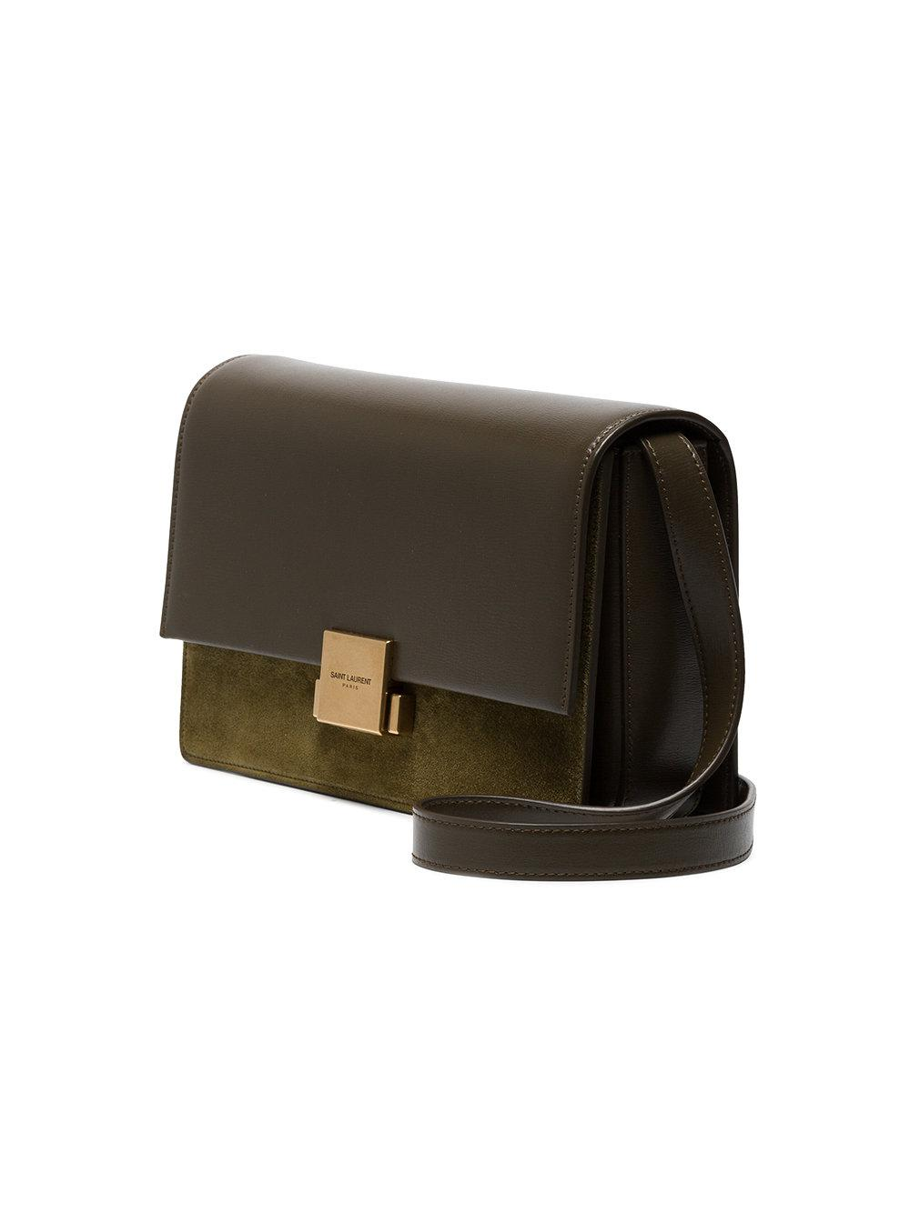 Lyst - Saint Laurent Green Bellechasse Medium Suede And Leather ... ce384ca36fa05