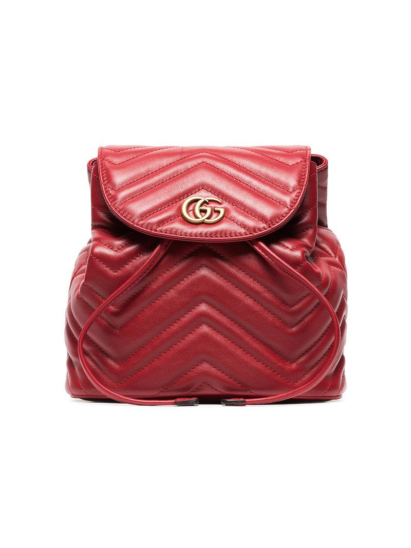 2c95516661a0 Lyst - Gucci Red Marmont Quilted Leather Backpack in Red - Save 19%