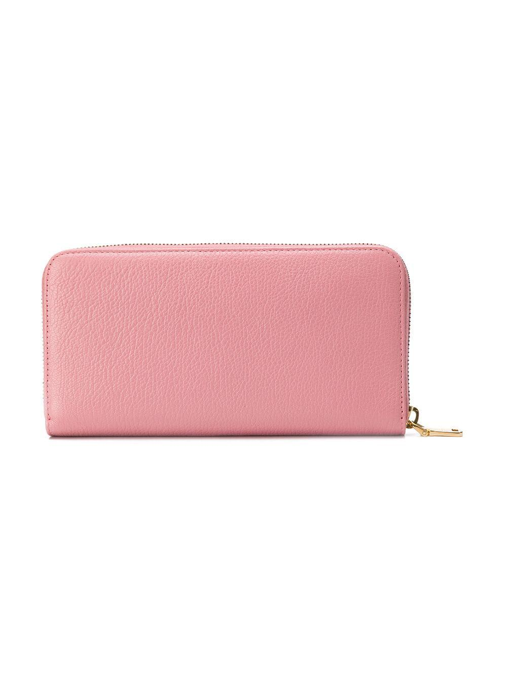 3b81c4b292d8 Lyst - Miu Miu Bow Continental Wallet in Pink