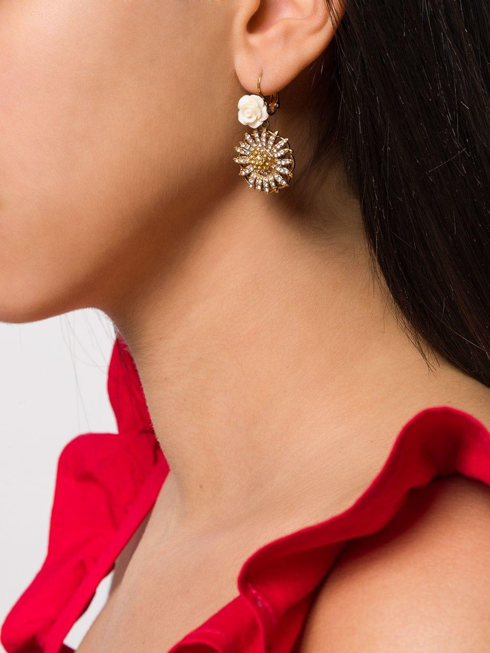 99543325c Dolce & Gabbana Crystal Embellished Floral Drop Earrings in Metallic - Lyst