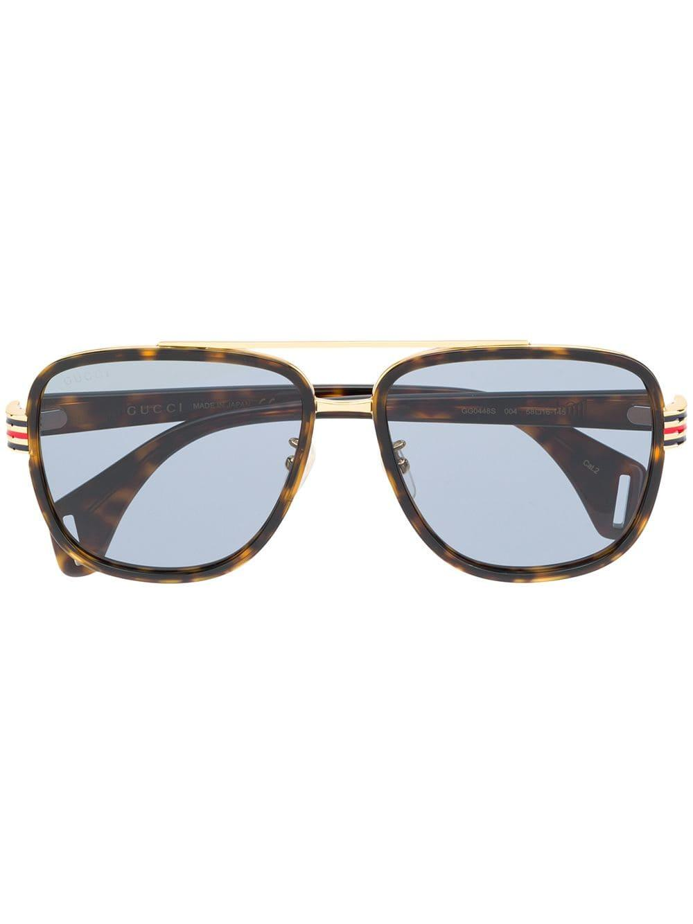 9fa5be87fe8 Gucci Square Frame Sunglasses in Brown for Men - Lyst