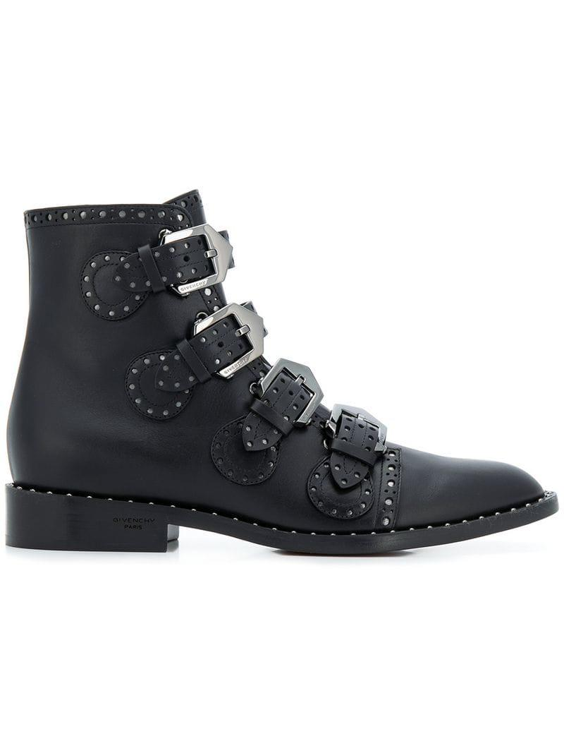 1d71ea4b6344 Lyst - Givenchy Buckled Ankle Boots in Black