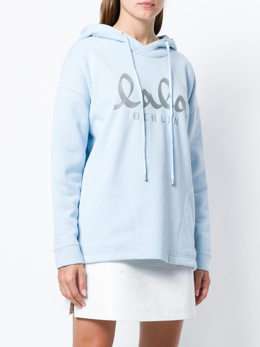 lyst lala berlin embroidered logo hoodie in blue