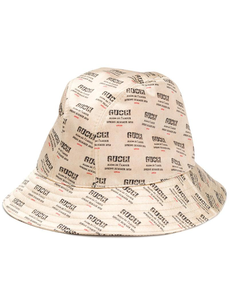 d5cf7e54ab7 Gucci Logo Stamped Bucket Hat in Natural - Lyst