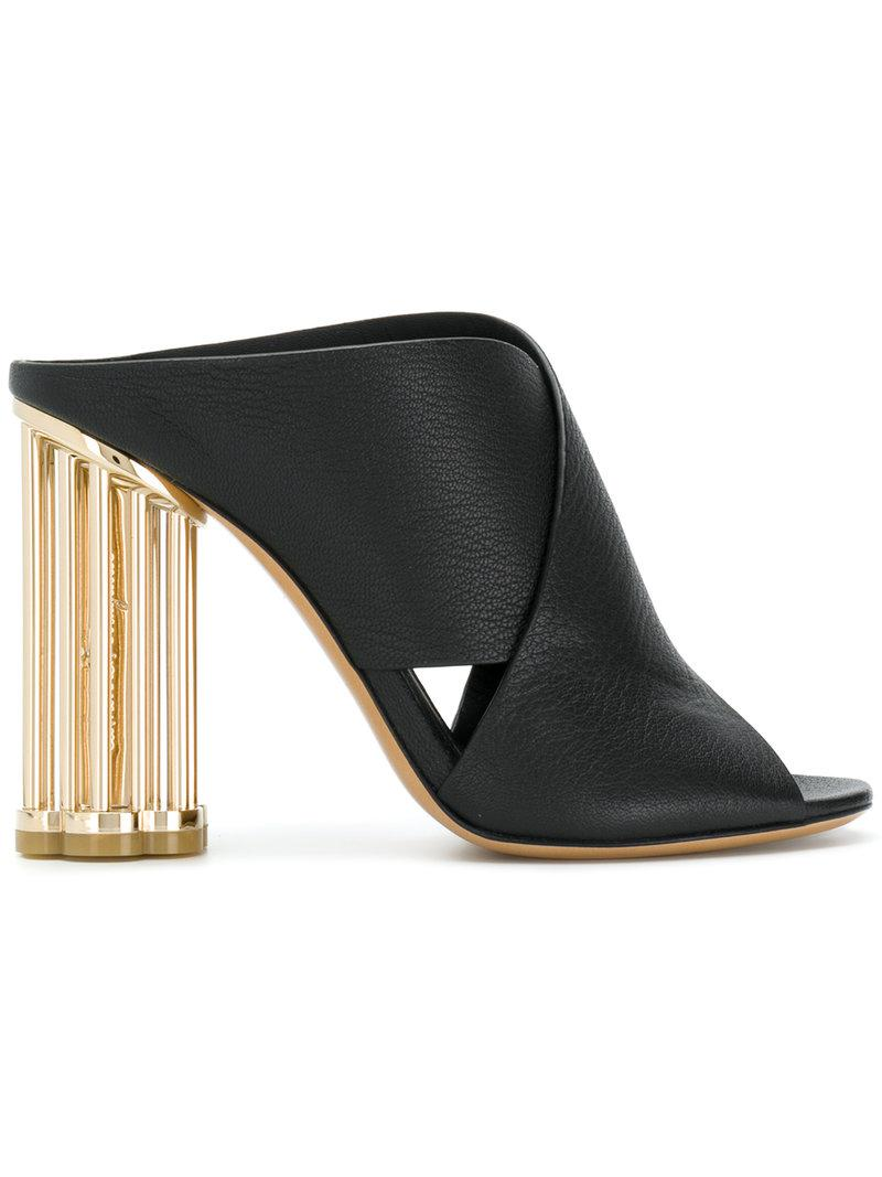 59a205f93b30 Ferragamo. Women s Black Flower Heel Mules