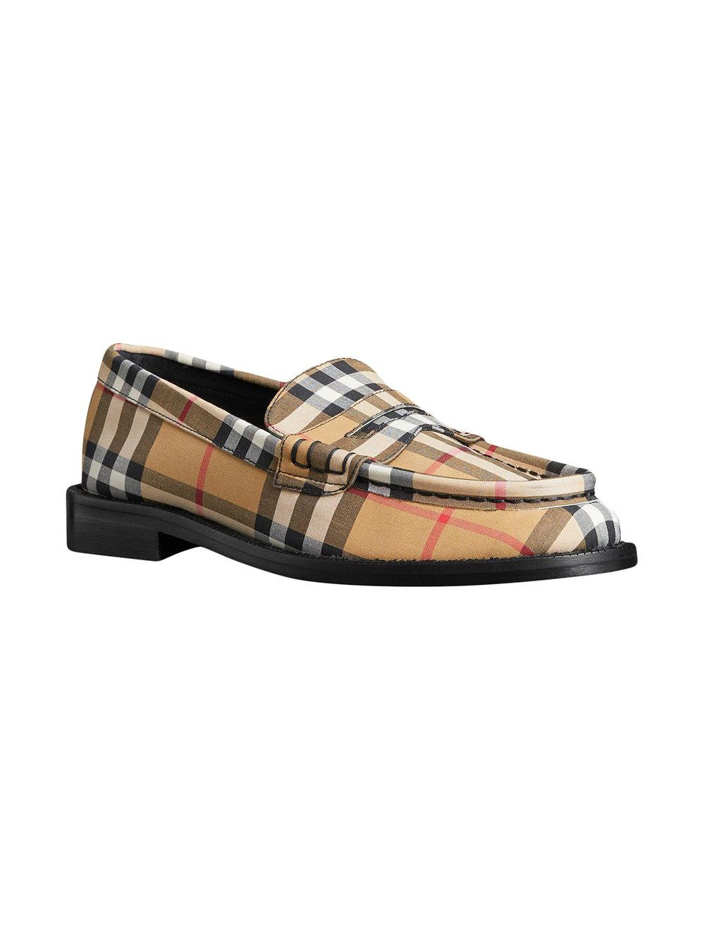 Vintage Check and Leather Penny Loafers - Yellow & Orange Burberry 9i7sNzM