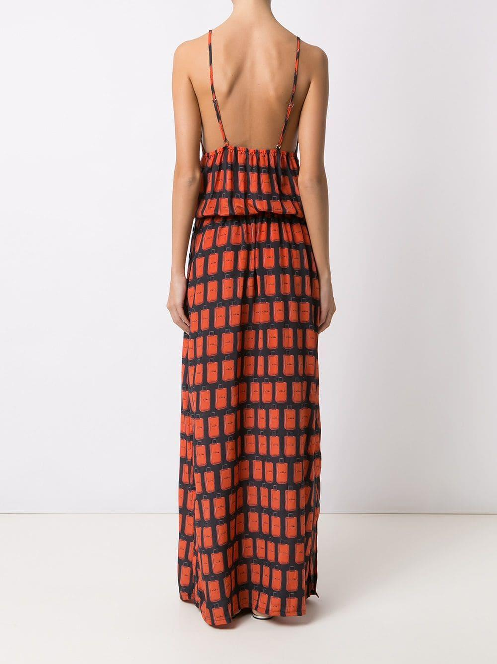 21be330a6c54 Lyst - Amir Slama Printed Long Dress in Black