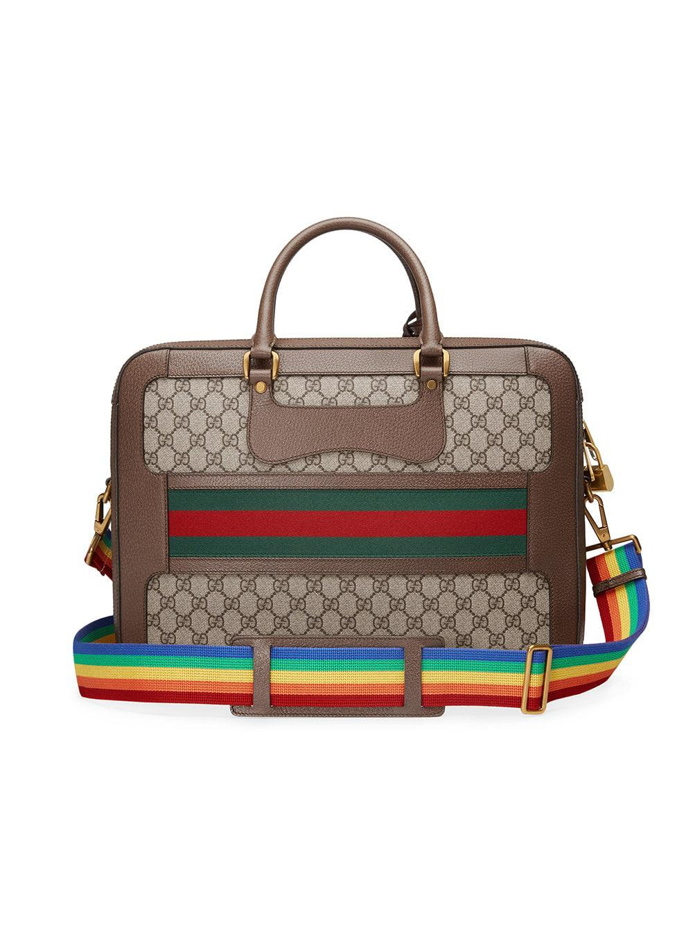 24bc40681149 Gucci GG Supreme Briefcase With Web in Brown - Lyst