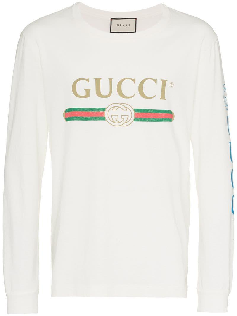020504be5 Gucci Dragon Embroidered Logo Print Cotton T Shirt for Men - Lyst