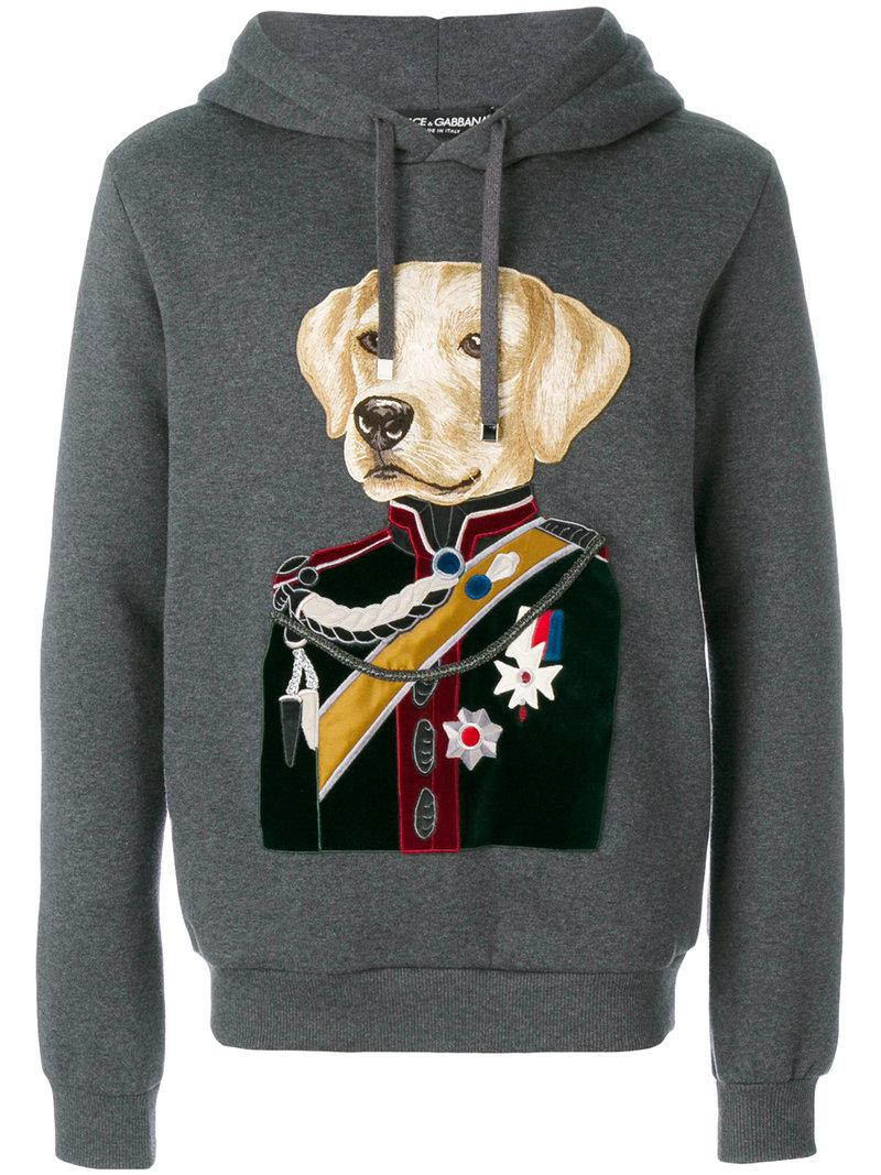 e3ea6dff Dolce & Gabbana Dog Colonel Patch Hoodie in Gray for Men - Lyst