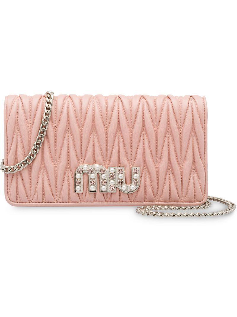 59d5bff7485e Miu Miu Matelassé Leather Mini-bag in Pink - Lyst