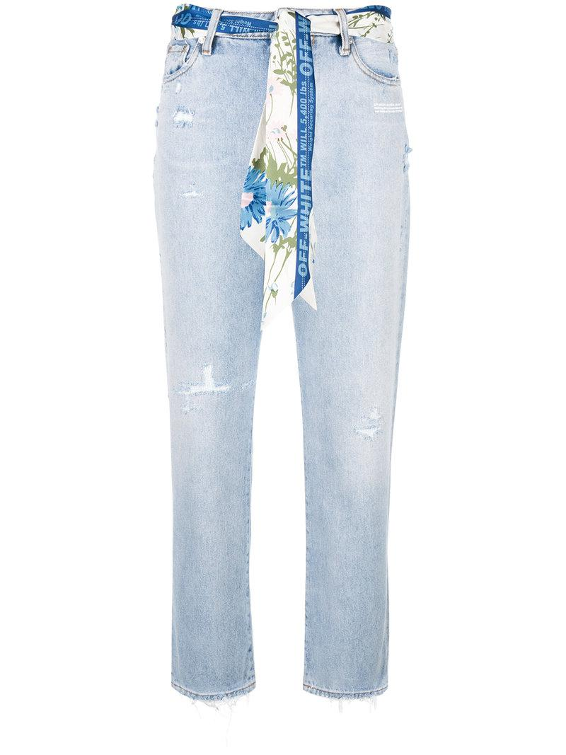 1df902bafe50 Lyst - Off-White c o Virgil Abloh Distressed Cropped Jeans in Blue