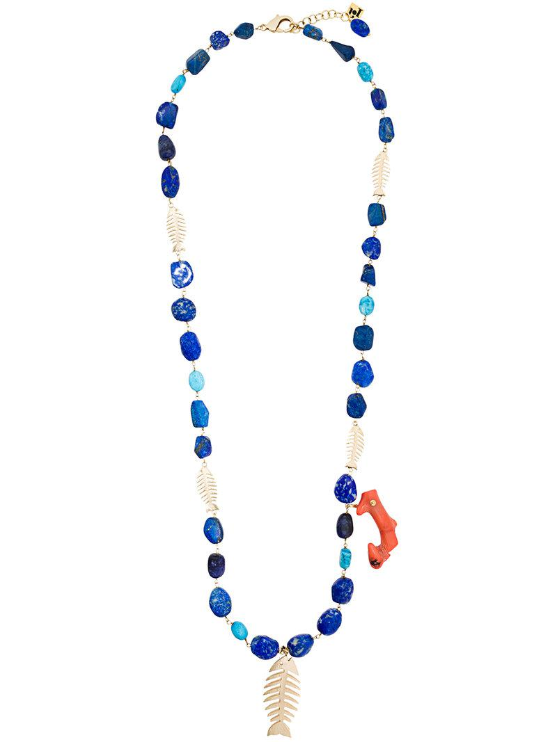 Rosantica fishbone bead necklace - Blue EC0L8tP