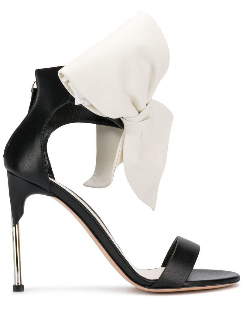 e32b7155b98 Lyst - Alexander Mcqueen Bow-embellished Sandals in Black