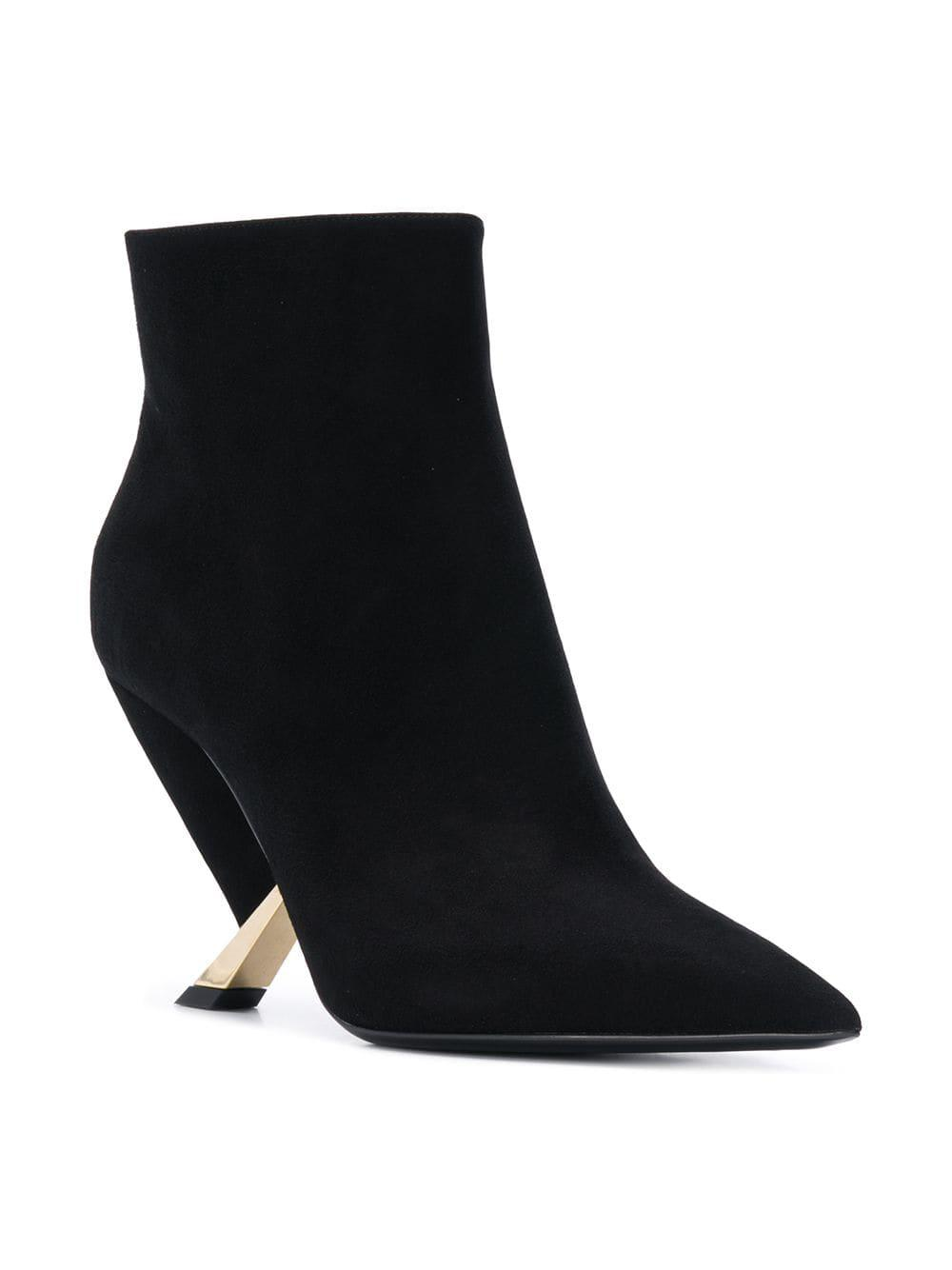 6fff137d49ea Lyst - Casadei Sculpted Heel Ankle Boots in Black