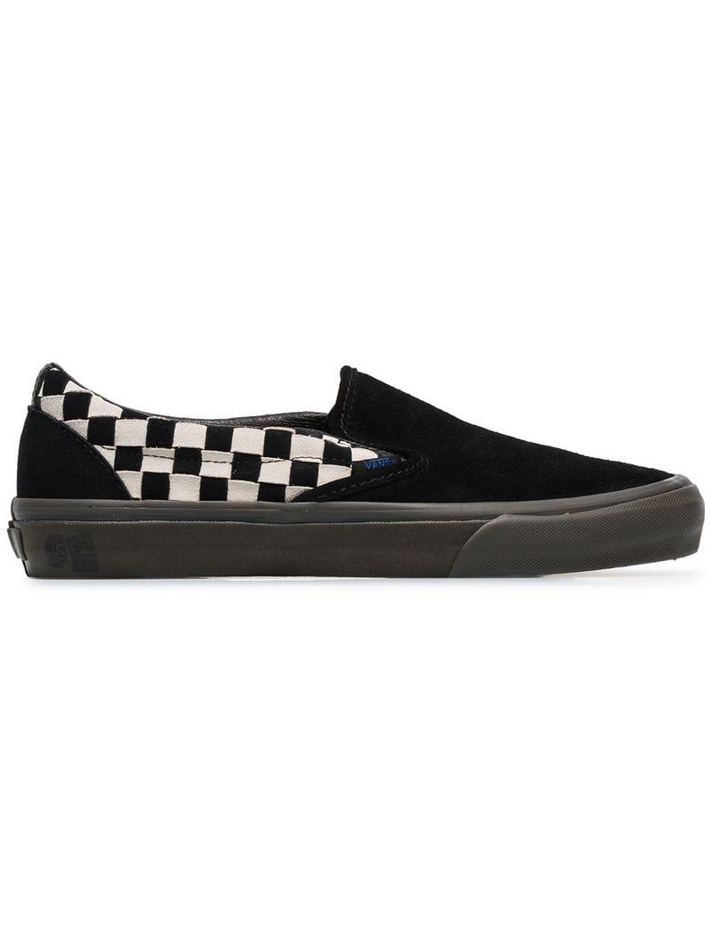 7ce3628b6b Lyst - Vans Black Vault Slip On Checkerboard Suede Sneakers in Black ...