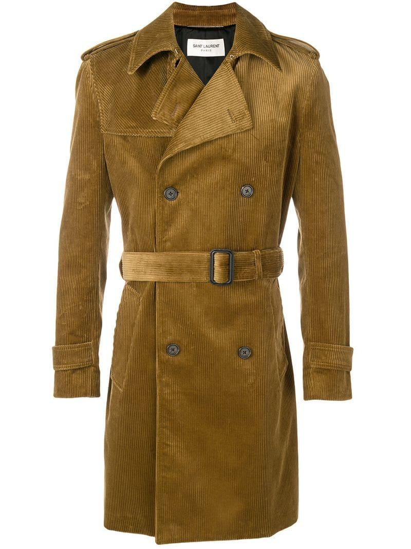 b1fe38ffd8d Saint Laurent - Brown Corduroy Trench Coat for Men - Lyst. View fullscreen