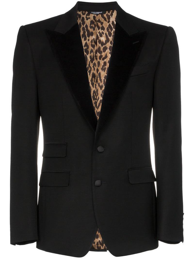 23f45b3e0 Dolce & Gabbana. Men's Black Velvet Lapel Wool Blend Leopard Tuxedo Jacket