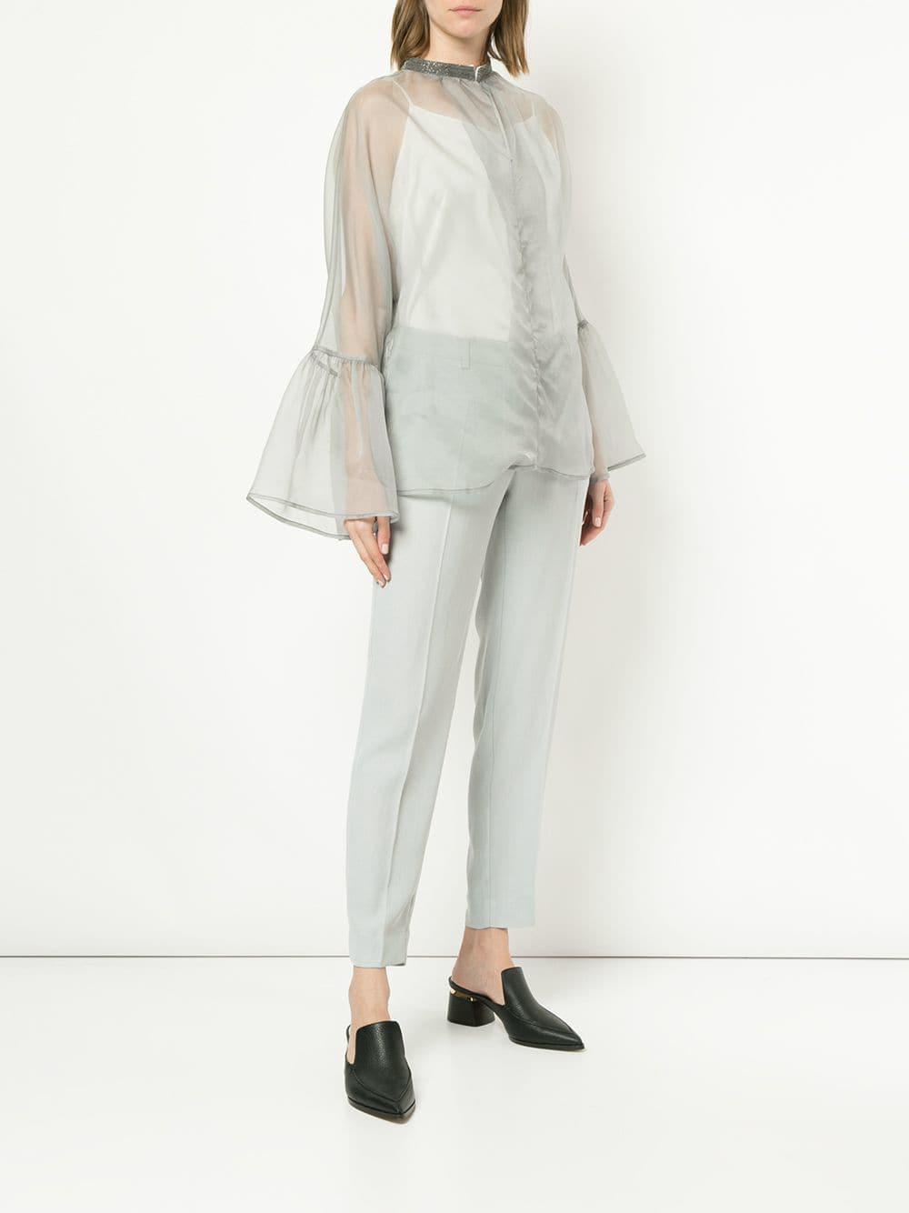 dc906a14c3ac3 Fabiana Filippi - Gray Sheer Flared Sleeves Blouse - Lyst. View fullscreen