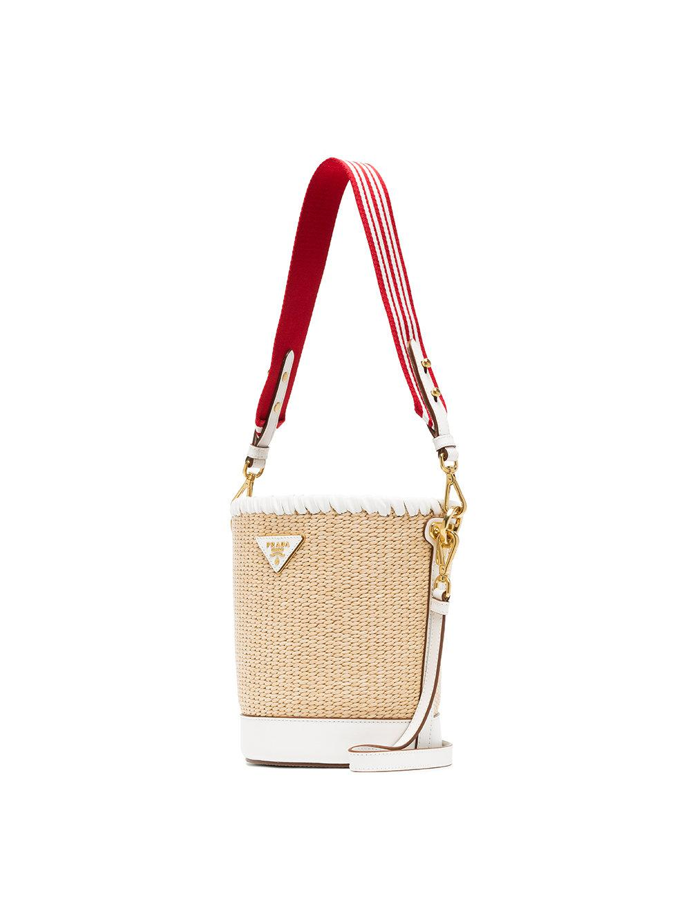 506ad0b2c530 Prada White, Nude And Red Logo Raffia Bucket Bag in Natural - Lyst