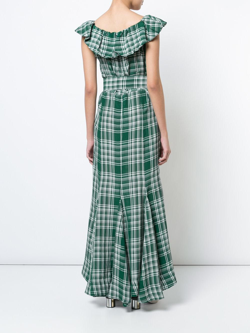 Lyst - Rosie Assoulin Crinkle Plaid Dress in Green - Save ...